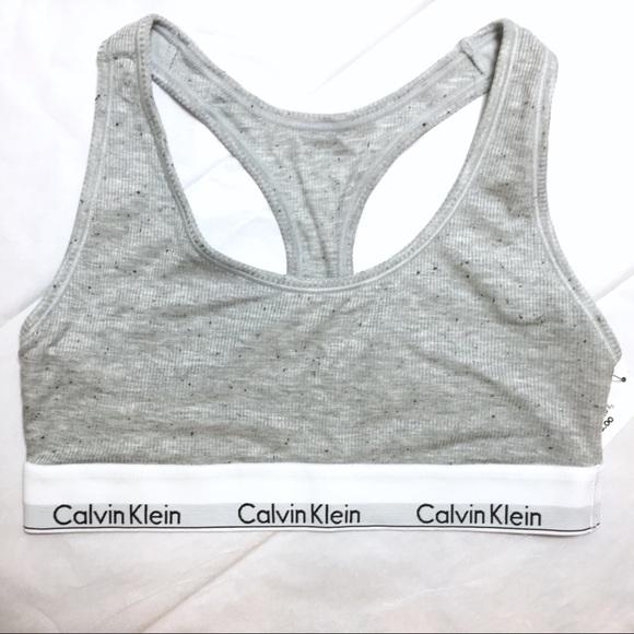 e6937f7c30 Calvin Klein Gray Speckled Logo Bra Size Small NWT